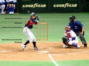 La zona de strike es un prisma imaginario que tiene como base el área encima del plato y la altura es de la rodilla hasta el codo más bajo del bateador en el momento de iniciar el swing. (Foto: Mori Chan via Wikipedia)